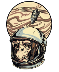 Custom Space Monkey T-shirt By Omer Acar - Artistshot c5a2efd8192c