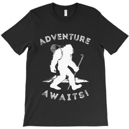 Adventure Awaits Bigfoot T-shirt Designed By Milanacr