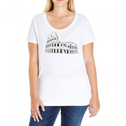 Rome Coliseum Italy Landmark Ladies Curvy T-shirt Designed By Salmanaz