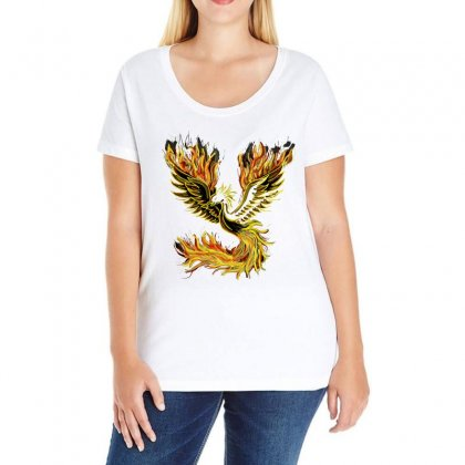 Phoenix Bird Fire Bright Red Swing Ladies Curvy T-shirt Designed By Salmanaz