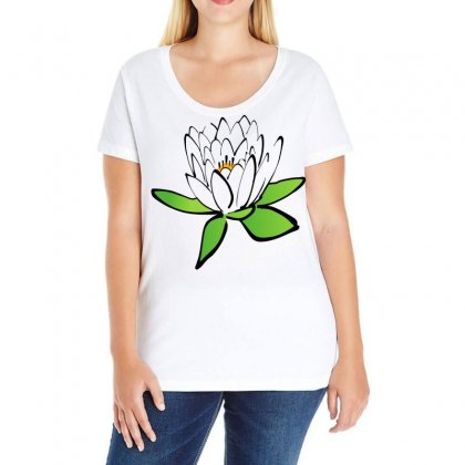 Lotus Flower Water Lily Ladies Curvy T-shirt Designed By Salmanaz
