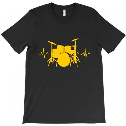 Drums Heartbeat   Funny Drummer T-shirt Designed By Devanojohnsantos