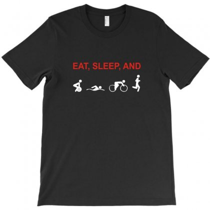 Eat, Sleep & Train Triathlon Sports, Gym, Athletic T-shirt Designed By Ismi