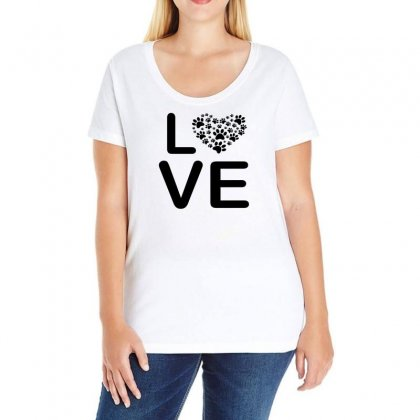 Dog Heart Dog Passion Love Red Animals Cool Ladies Curvy T-shirt Designed By Omer Acar