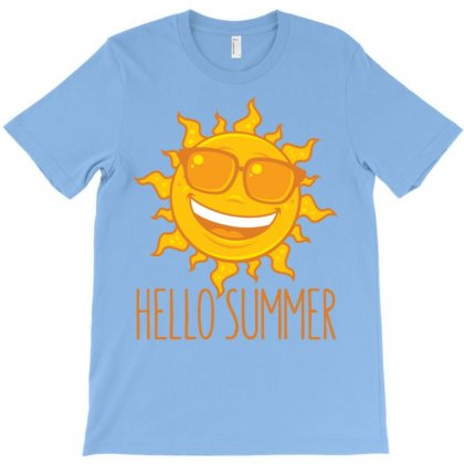 Hello Summer Sun With Sunglasses T-shirt Designed By Fizzgig