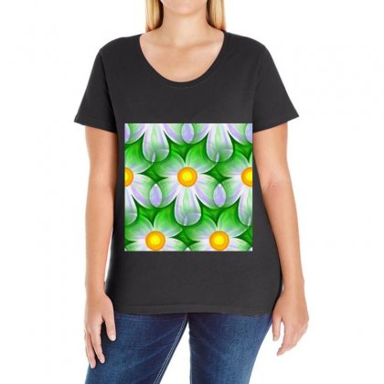 Seamless Repeating Tiling Tileable Flowers Ladies Curvy T-shirt Designed By Salmanaz