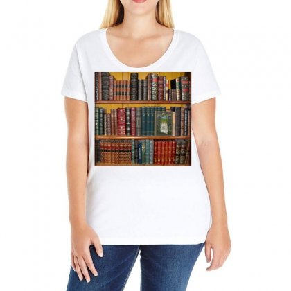 Books Library Bookshelf Bookshop Ladies Curvy T-shirt Designed By Salmanaz