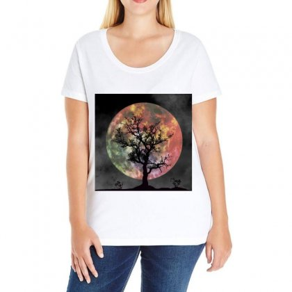 Full Moon Silhouette Tree Night Ladies Curvy T-shirt Designed By Salmanaz