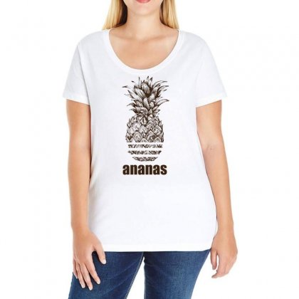 Ananas Parody Logo Ladies Curvy T-shirt Designed By Omer Acar