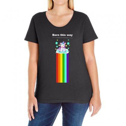 Lgbt Rainbow Pride   Born This Way Ladies Curvy T-shirt Designed By Omer Acar