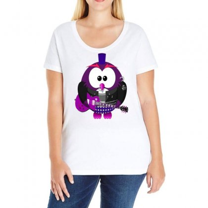 Owl Bird Music Animation Animal Ladies Curvy T-shirt Designed By Salmanaz