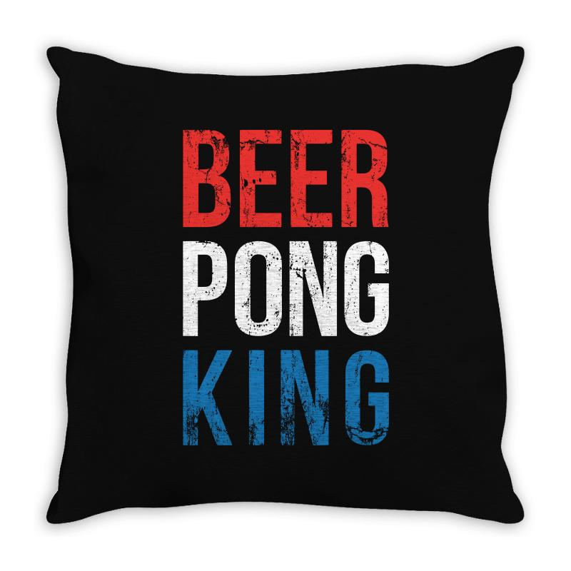 Beer Pong King Throw Pillow | Artistshot