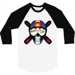Skiing skull colorado 3/4 Sleeve Shirt | Artistshot