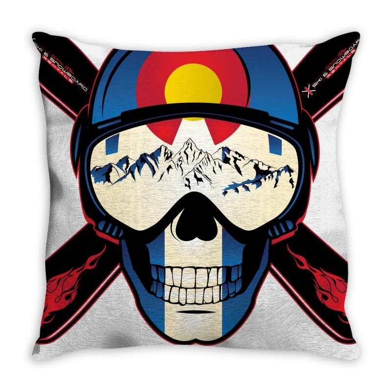 Skiing Skull Colorado Throw Pillow | Artistshot