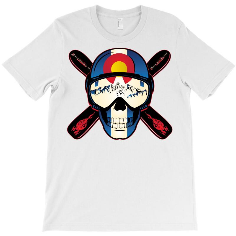 Skiing Skull Colorado T-shirt | Artistshot