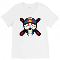 Skiing skull colorado V-Neck Tee | Artistshot