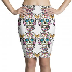 Skull day of the dead Pencil Skirts | Artistshot