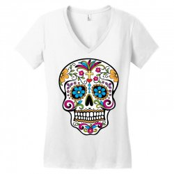 Skull day of the dead Women's V-Neck T-Shirt | Artistshot