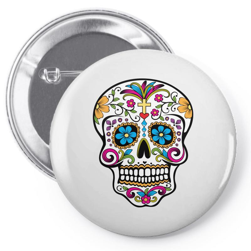 Skull Day Of The Dead Pin-back Button | Artistshot