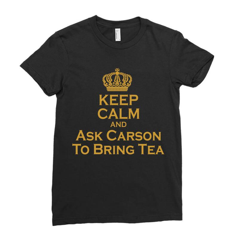 Ask Carson (gold) Ladies Fitted T-shirt | Artistshot
