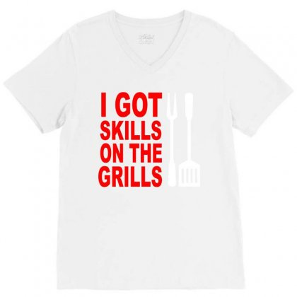Got Skills On The Grills Apron V-neck Tee Designed By Suryanaagus068