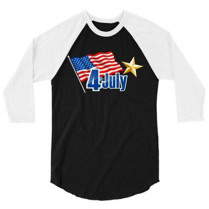 4th July Independence Day 3/4 Sleeve Shirt Designed By Anrora