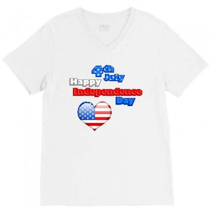 Happy Independence Day 2019 V-neck Tee Designed By Anrora