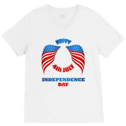 Happy 4th July Independence Day 2019 V-neck Tee Designed By Anrora