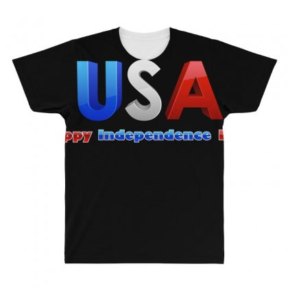 Usa Happy Independence Day All Over Men's T-shirt Designed By Anrora