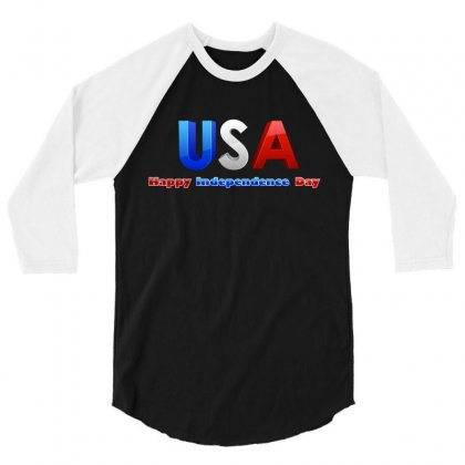 Usa Happy Independence Day 3/4 Sleeve Shirt Designed By Anrora