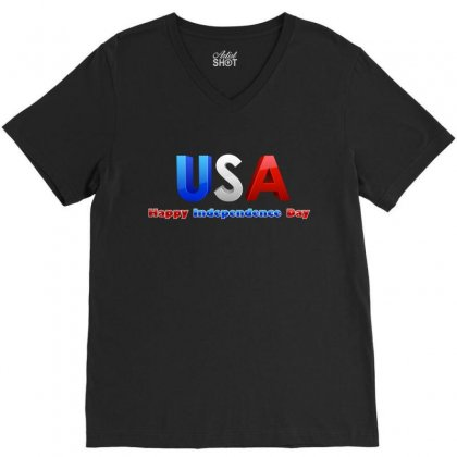 Usa Happy Independence Day V-neck Tee Designed By Anrora