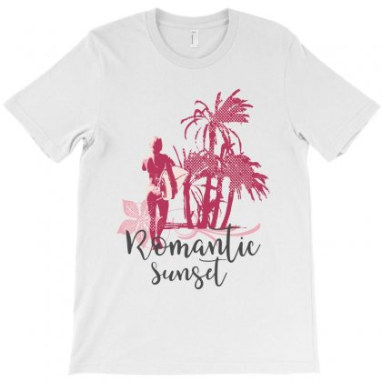 Romantic Sunset Surf T-shirt Designed By Cidolopez