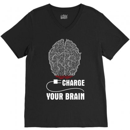 Charge Your Brain V-neck Tee Designed By Wizarts