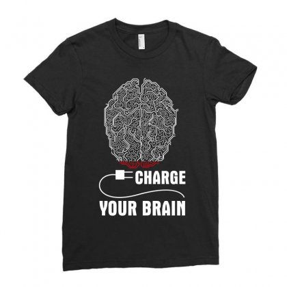 Charge Your Brain Ladies Fitted T-shirt Designed By Wizarts