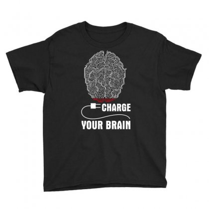 Charge Your Brain Youth Tee Designed By Wizarts