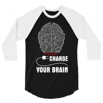 Charge Your Brain 3/4 Sleeve Shirt Designed By Wizarts
