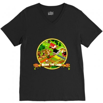 Work The Land V-neck Tee Designed By Andi's