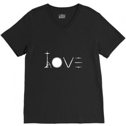 Drums Heartbeat   Funny Drummer V-neck Tee Designed By Irawan