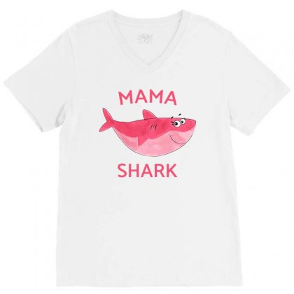Mama Cute Shark Baby Girl V-neck Tee Designed By Akin
