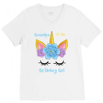 Grandpa Of The Birthday Girl V-neck Tee Designed By Akin