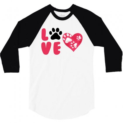 Dog Love For White 3/4 Sleeve Shirt Designed By Akin
