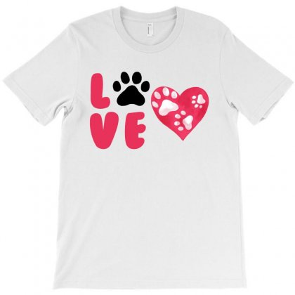 Dog Love For White T-shirt Designed By Akin
