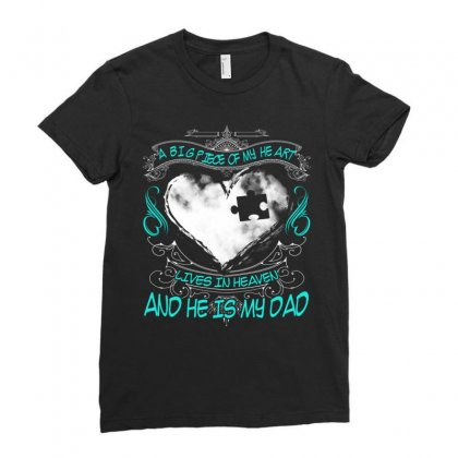 A Big Piece Of My Heart Lives In Heaven Ladies Fitted T-shirt Designed By Kakashop