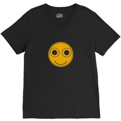 Funny Smiley Face V-neck Tee Designed By Ismi