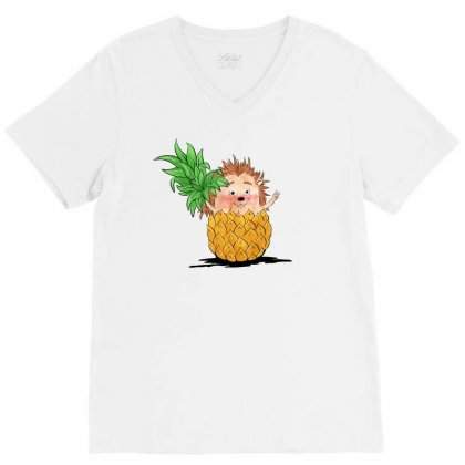 Hedgehog Pineapple V-neck Tee Designed By Akin