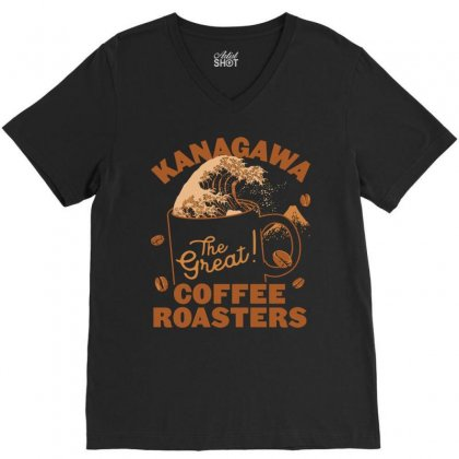 Kanagawa Coffee Roasters V-neck Tee Designed By Kakashop