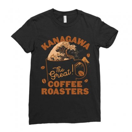 Kanagawa Coffee Roasters Ladies Fitted T-shirt Designed By Kakashop
