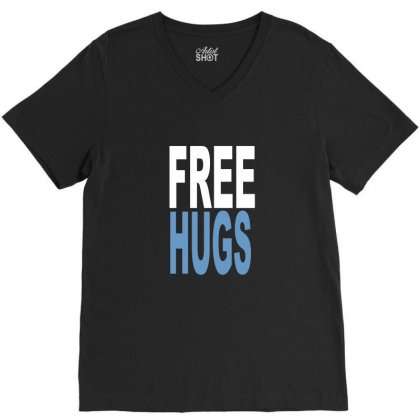 Funny T Shirts Free Hugs Adult V-neck Tee Designed By Ismi