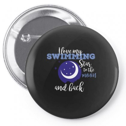 I Love My Swimming Star To The Moon And Back Pin-back Button Designed By Wizarts