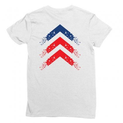 Usa Up Arrow Ladies Fitted T-shirt Designed By Lion Star Art